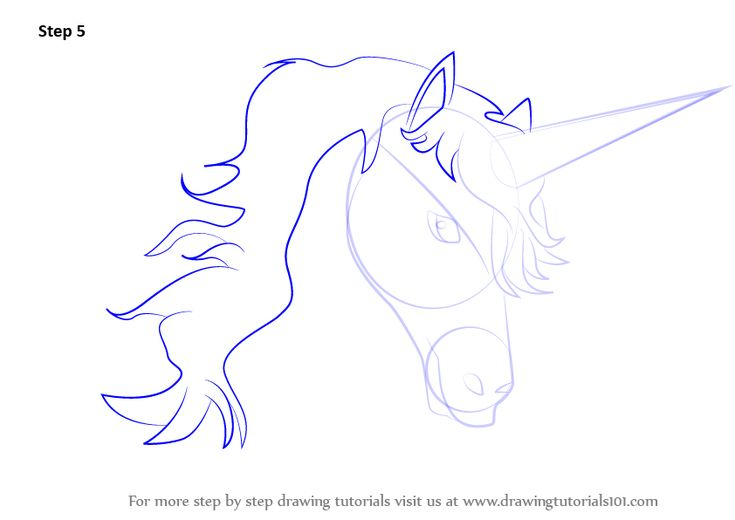 Learn How to Draw Unicorn Head (Unicorns) Step by Step : Drawing Tutorials