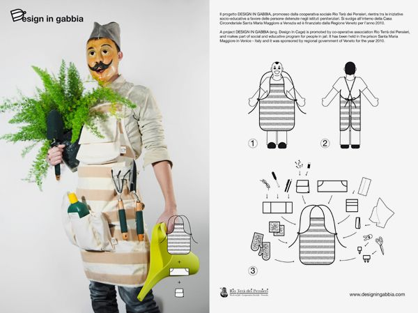 Apron with velcro to hang different pockets or loop. Design in Gabbia . 2010