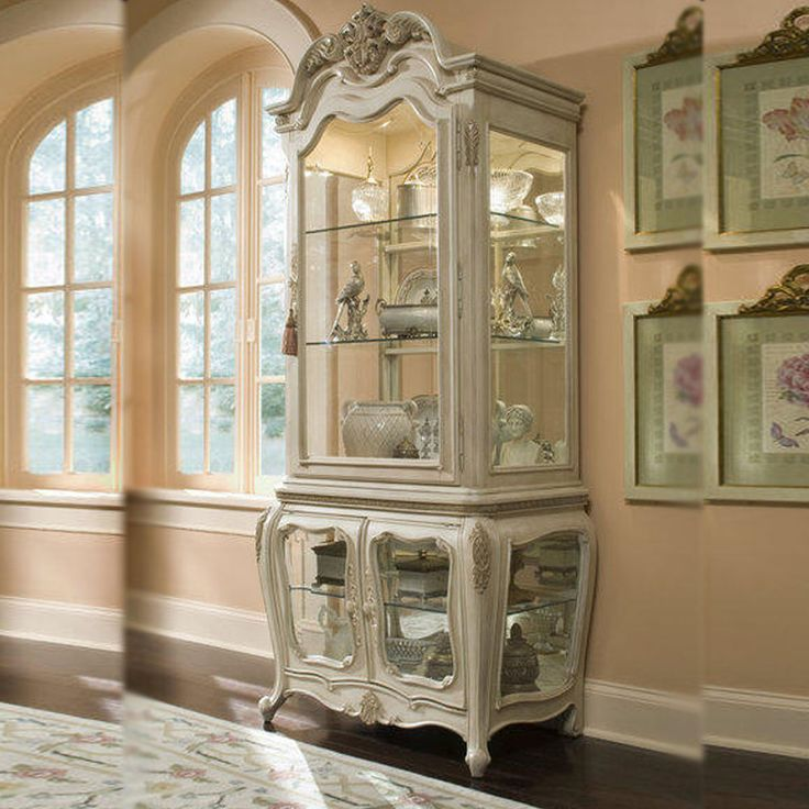 Vintage Antique White Curio Cabinet China Buffet Hutch Dining Room Furniture