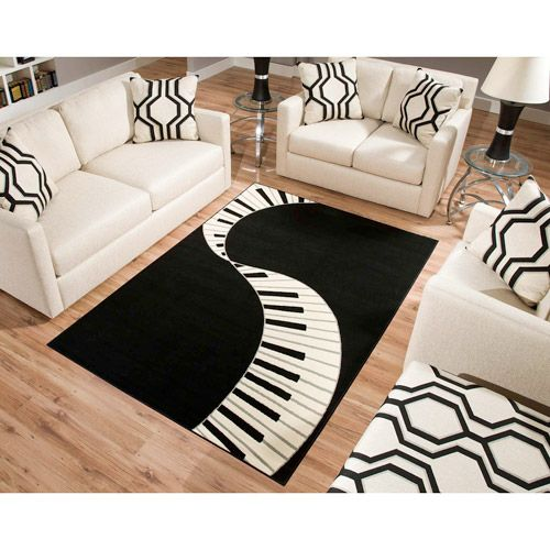 Terra Piano Rectangle Area Rug Black/White