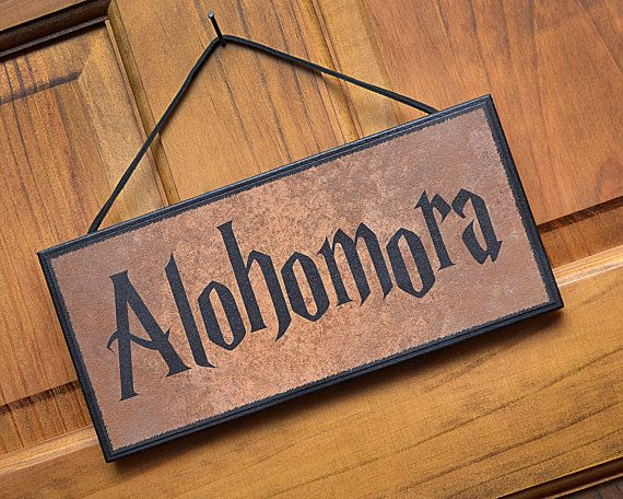 Alohomora on Wooden Plaque / Sign.  Ready to Hang.  Great gift