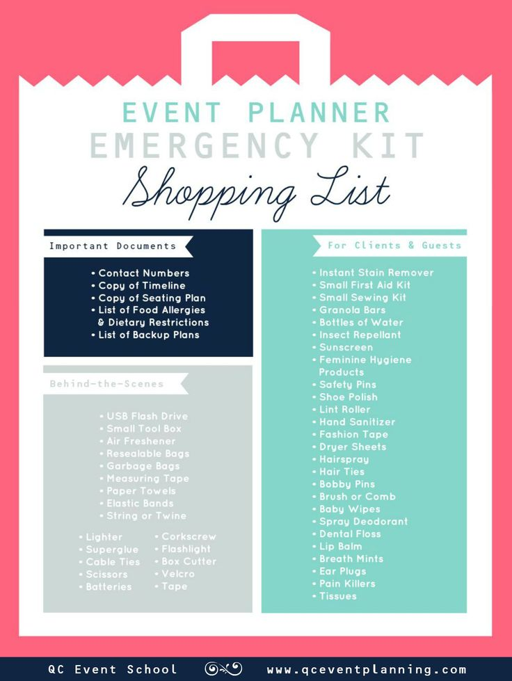 Event Planner Emergency Kit Infographic