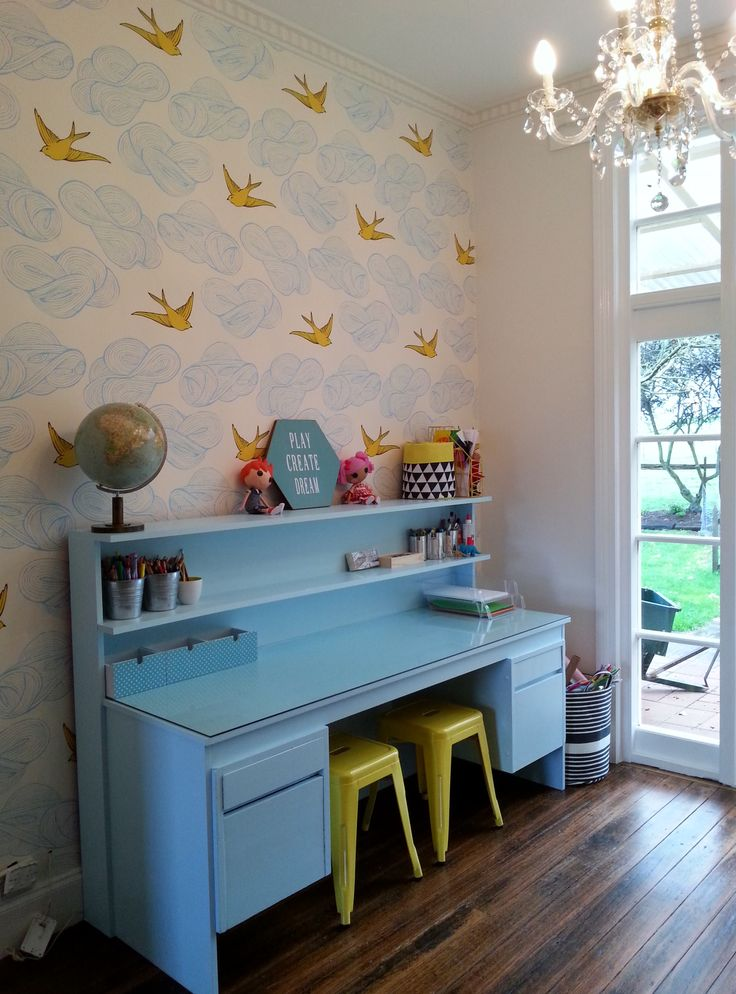 Daydream (Sunshine) Wallpaper. Upcycled Desk. Murano Glass Chandelier.  Lovely Kids Playroom Amazing Ideas