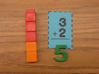 One child answers using a magnetic number ~ His/her partner checks using unifix cubes.  (Blog post focusing on free hands-on ideas using flashcards.)