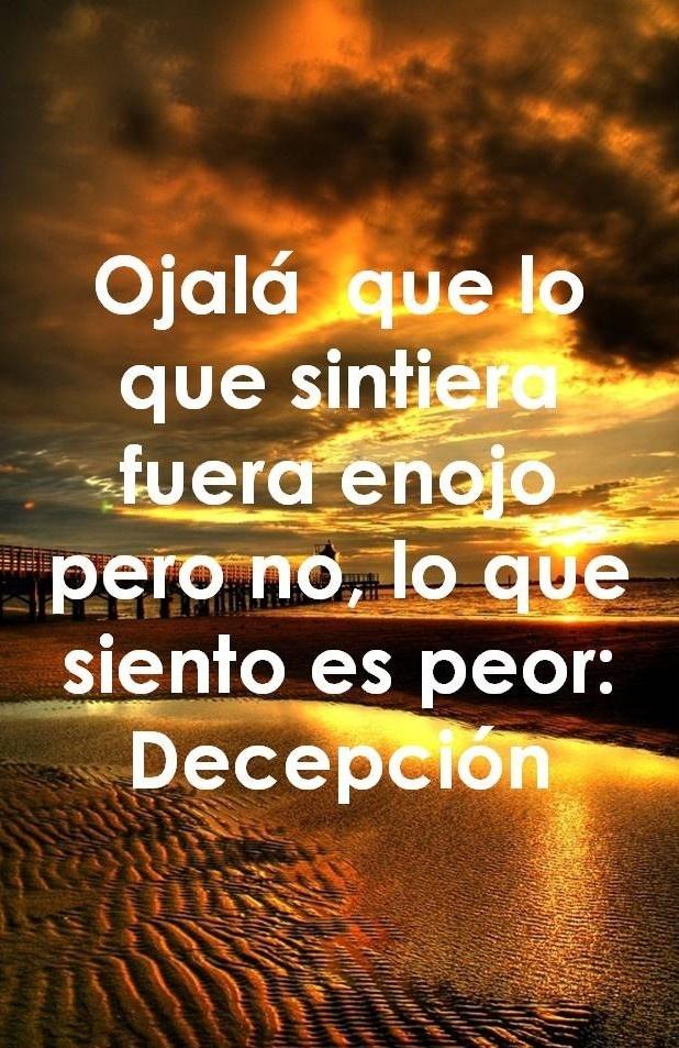 Decepción, tristeza...