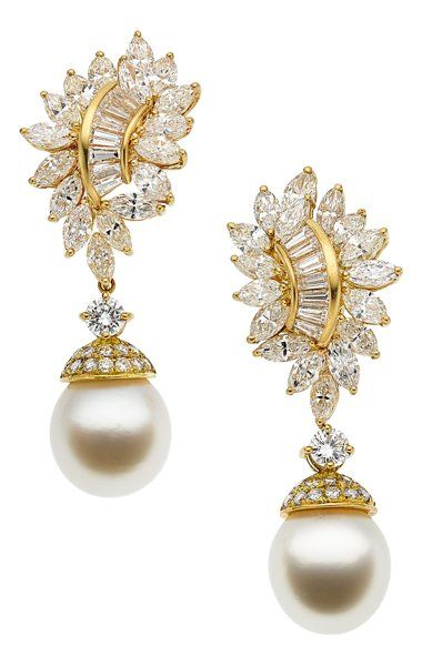 South Sea Cultured Pearl, Gold Earrings, by Adler.
