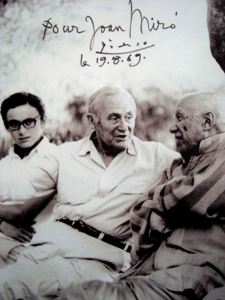 Joan Miró, (Catalonia)  and Pablo Picasso (Spain), circa 1969.