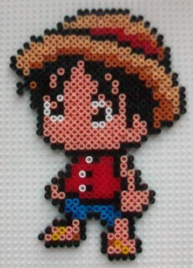 Luffy con hama beads mini