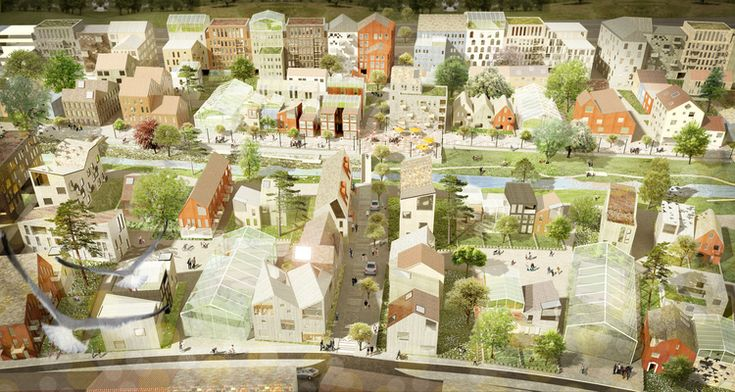 """Kommunen hade 2012 en plantävling för Vallastaden. Det vinnande förslaget """"Tegar"""" kom från Göteborgskontoret Okidoki. De bärande idéerna var att återskapa de oskiftade byarnas småskaliga markindelning, att blanda olika skalor och typer av byggnader och att åstadkomma en stadsdel med mycket gemensamhet."""