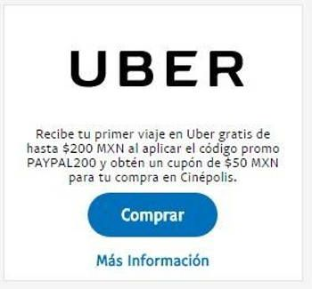 Uber primer viaje gratis con Paypal y cupon para Cinépolis