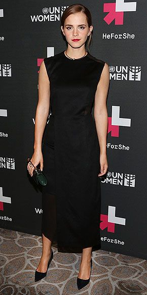 Last Night's Look: Love It or Leave It?   EMMA WATSON   After speaking at the U.N. about gender inequality at the launch of HeForShe, Emma attends the event's afterparty in N.Y.C. in a look that's all business: a Hugo Boss sheath and Roger Vivier heels.