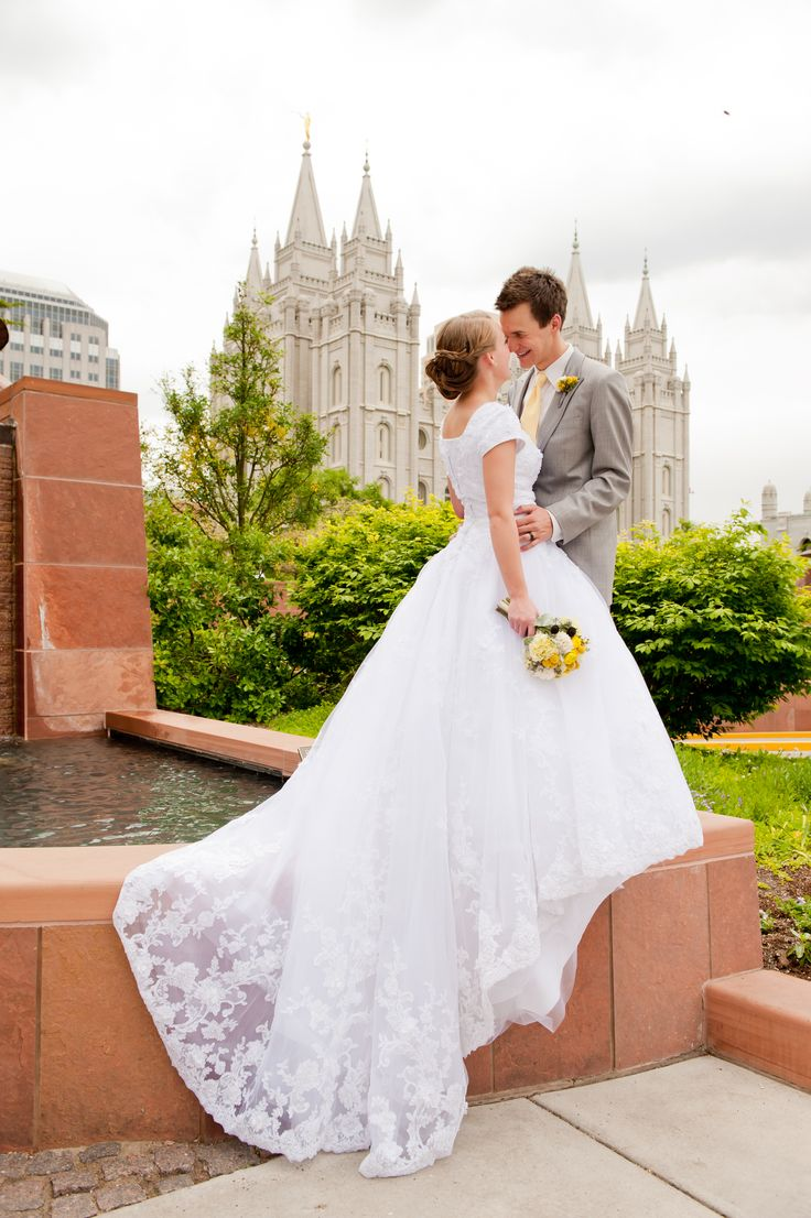 Real bride wearing the 'Augustina' gown from Latter Day Bride & Prom.