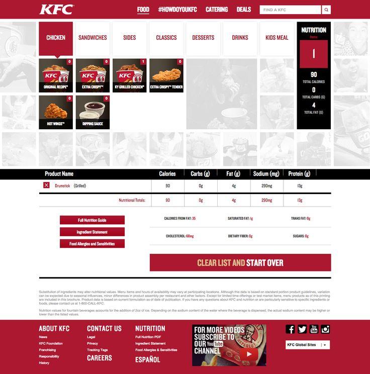 kfc.com - Nutrition calculator