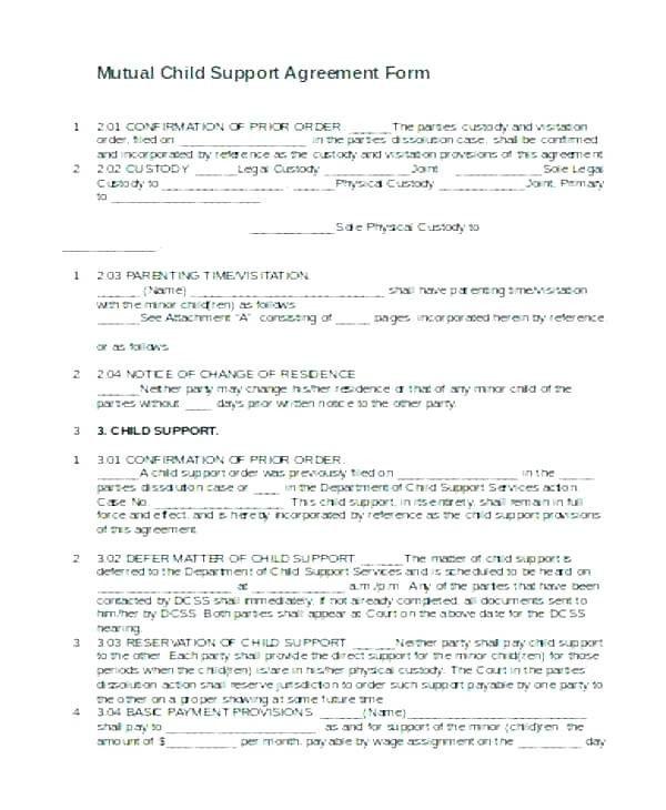 Custody Agreement Template Custody Agrment Template Plete