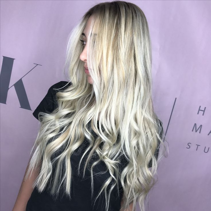 Balayage highlights sultry blond