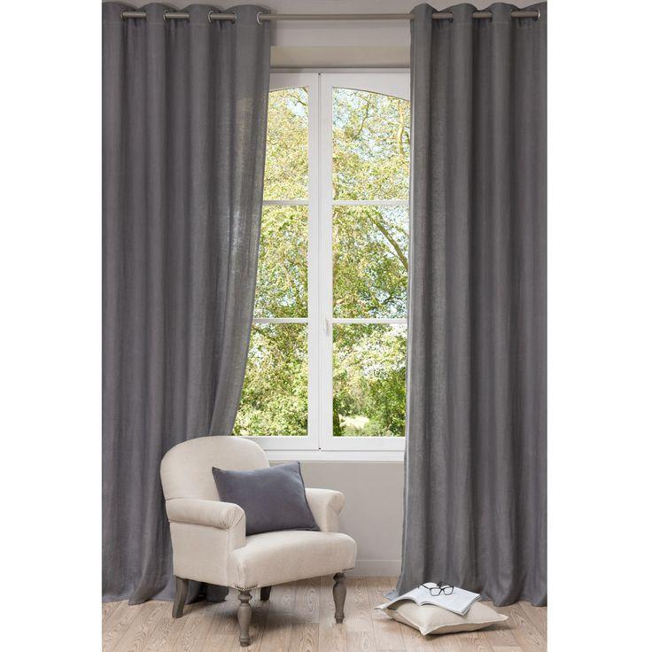 Tenda grigia in lino slavato con occhielli 140 x 300 cm