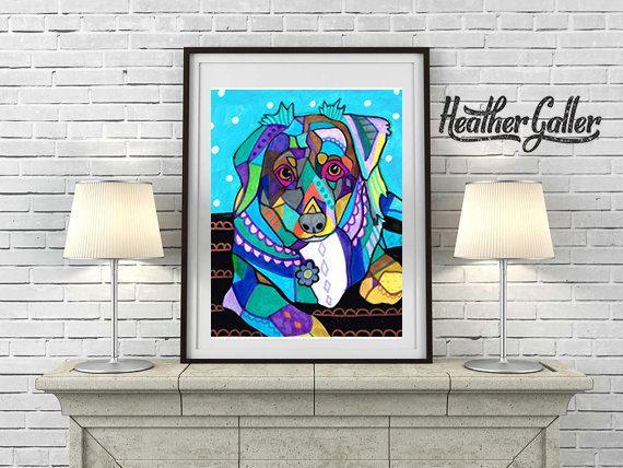50% Off - Mini Australian Shepherd art dog Art Print Poster by Heather Galler (HG674)