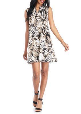 New Directions Women's Printed Split Neck Sleeveless Swing Dress - True Khaki - Xl