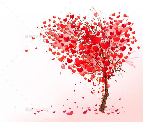 Valentine Background with Heart Shaped Tree