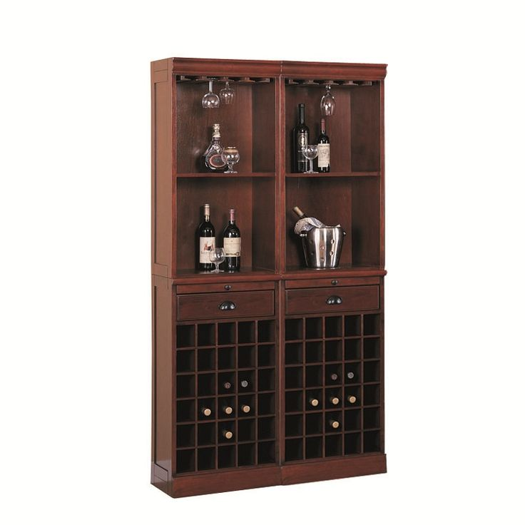 The Back Bar comes in a cherry brown finish on Asian hardwoods and veneers. Features ample wine bottle storage below, stemware storage above the top 2 shelves, 2 drawers, and 2 pull out shelves. A slender profile makes it easy to place in your home. Breanne Cherry Back Bar with Wine and Glass Storage | Weekends Only Furniture and Mattress
