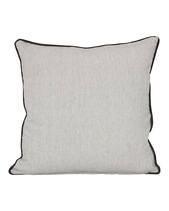 Versatile cushion cover in gray with fine border. One side is dark gray and the other side is light gray. Closed with zipper at the bottom.
