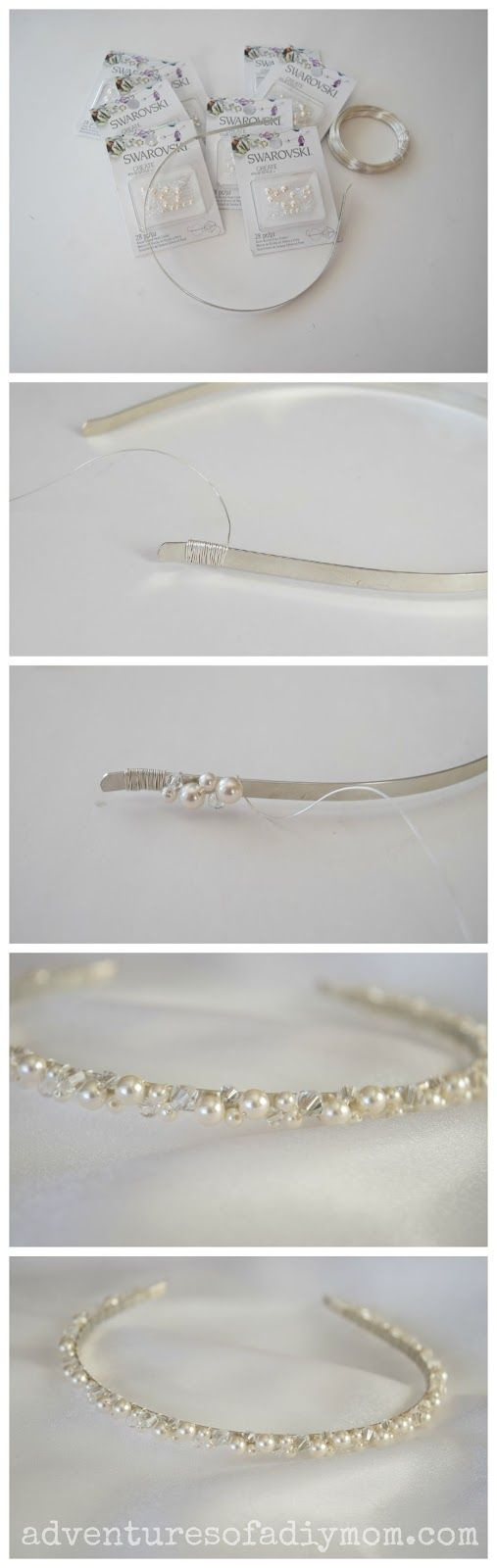 How to Make a Pearl and Crystal Headband |Adventures of a DIY Mom
