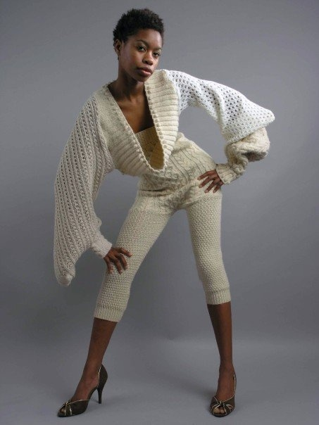 Hand knit patchwork top with machine knit jumpsuit by Zoe Van Spyk