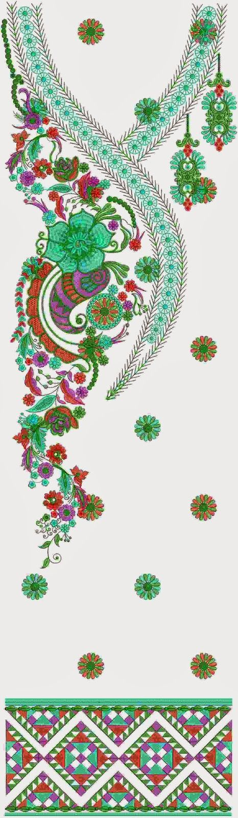Lightning Kurti Neck Dress Embroidery Designs - Embdesigntube