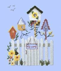 """Birdhouses- complete w/ video, Bunka With Flair kit# B55. Bunka is punched into a pre-printed design on a numbered cloth using corresponding numbered, coloured rayon thread. Here is a link to our """"How To"""" video that displays the techniques. http://www.youtube.com/watch?v=xchEjFm9wsw"""