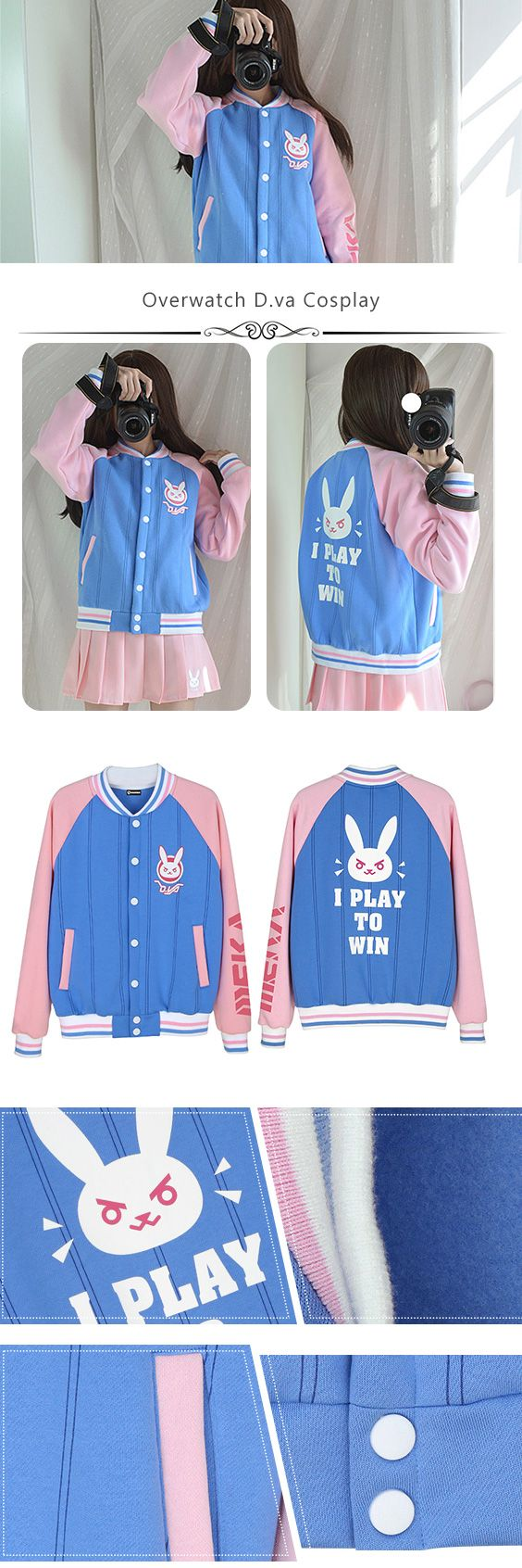 More about Overwatch D.va Cosplay Baseball Jacket sells at Miccostumes #cosplay #miccostumes #gamerelatedproducts #Overwatch #Dva #dvaBaseballJacket #overwatchcosplay #dvacosplay
