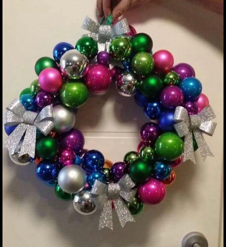 Kmart wreath created with coat hanger with baubles
