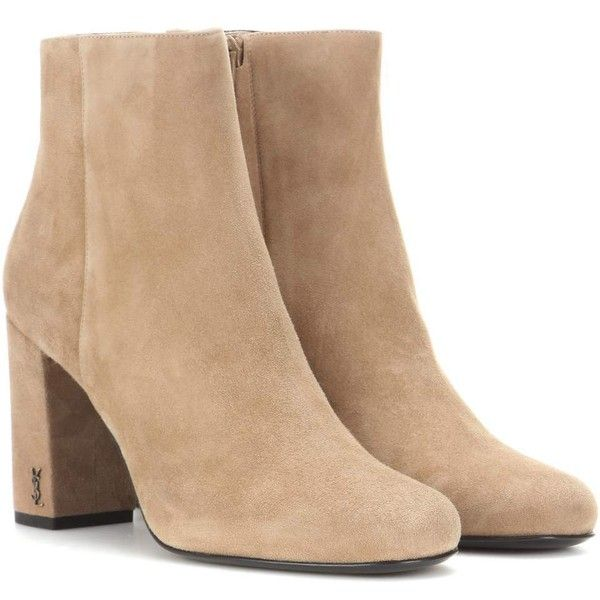 Saint Laurent Babies 90 Suede Ankle Boots ($696) ❤ liked on Polyvore featuring shoes, boots, ankle booties, heels, botas, ankle boots, beige, heeled boots, bootie boots and beige ankle booties