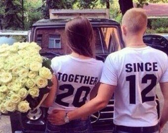 Newlywed Couples T-Shirts, Anniversary Gift, Wedding Gift, 'TOGETHER SINCE' set of 2 Matching Tees for Lovebirds, Couples Shirts