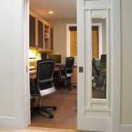 Pocket door for tiny office/den