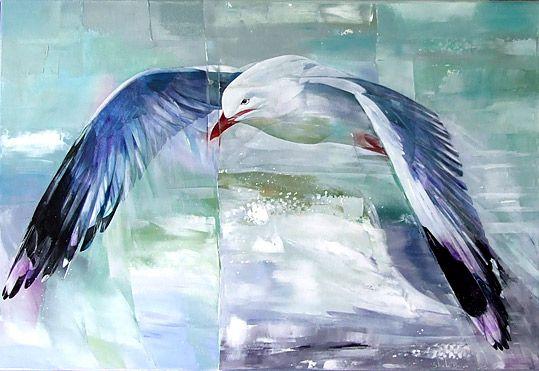 sheila brown nz bird artist, gulls