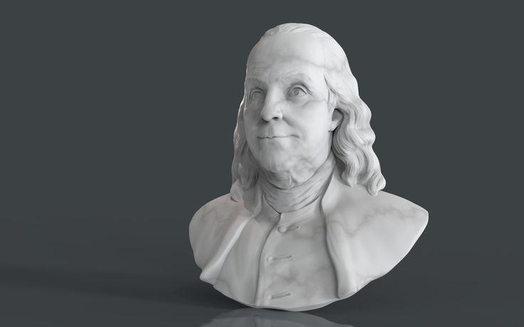 Bust of Benjamin Franklin I modeled Bust of Benjamin Franklin in Zbrush and render in Keyshot as prewiev for 3d print and later milestone process. Benjamin Franklin | Portrait | 3d modeling | 3d printing | ZBrush | Texturig | Design Art