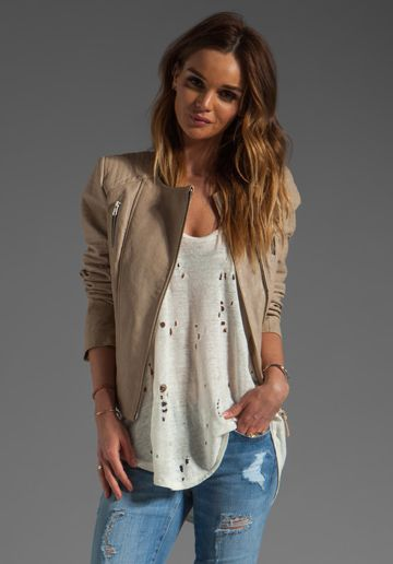 MACKAGE Brooklyn Distressed Leather Jacket in Sand at Revolve Clothing