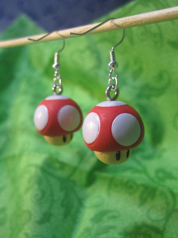 Super Mario Earrings  Red Mushroom by Jirges on Etsy, $9.00