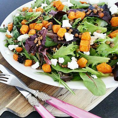 Salade met linzen en zoete aardappel