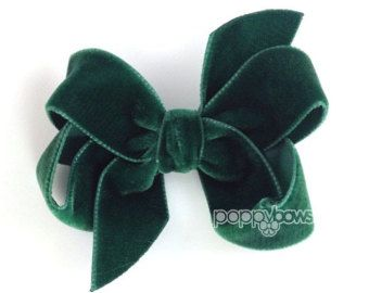 Burgundy velvet hair bow 3 hair bow Christmas hair by PoppyBows