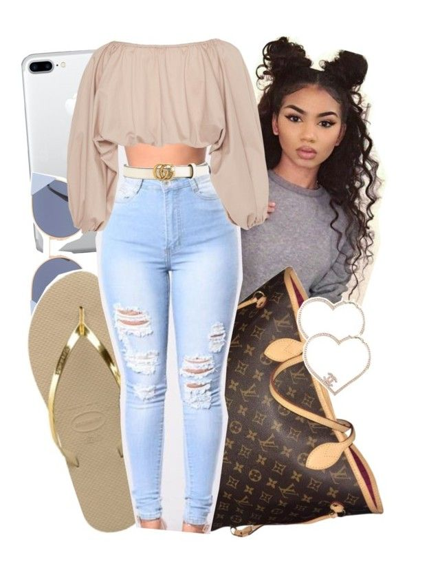 1:47 by envymeeeee on Polyvore featuring Cult Gaia, Havaianas, Louis Vuitton, Chanel, Fendi and Gucci