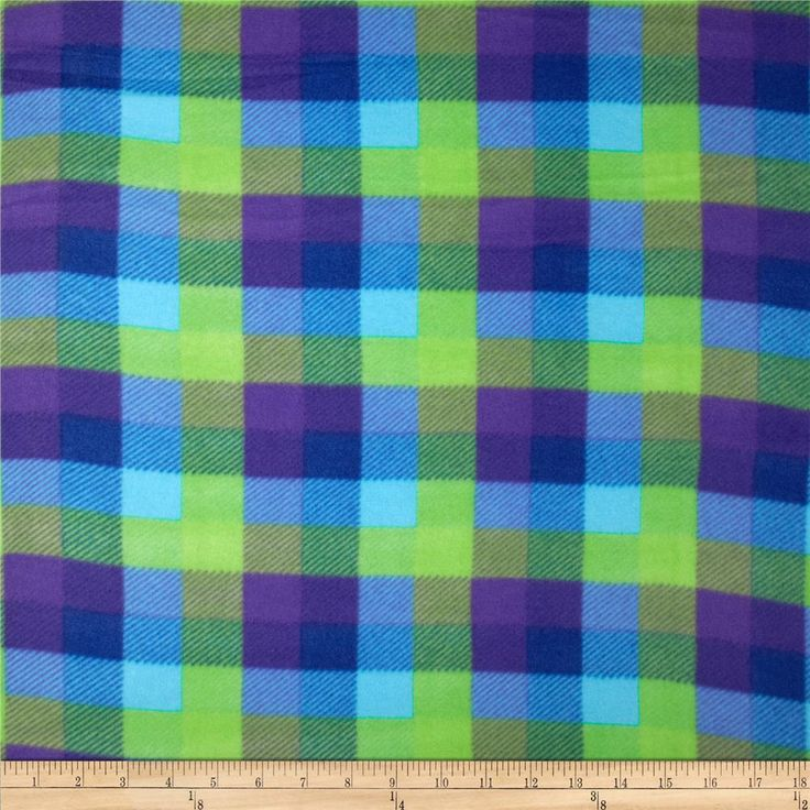 Printed Fleece Plaid Blue/Purple from @fabricdotcom  This medium weight fleece is anti-pill and ultra soft. It is perfect for creating jackets, vests, scarves, mittens, throws and more! Colors include blue, lime and purple.