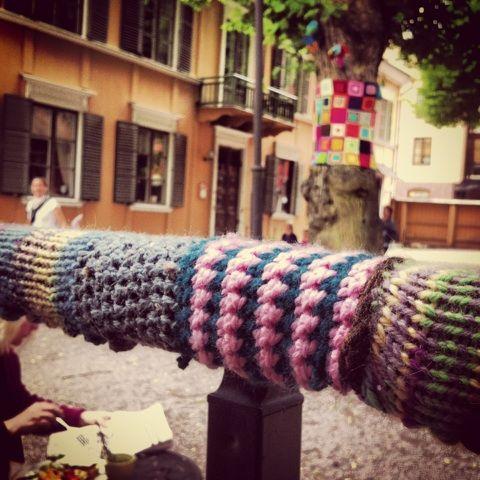 The yarnbombing of Garnapa, Uppsala, Sweden.