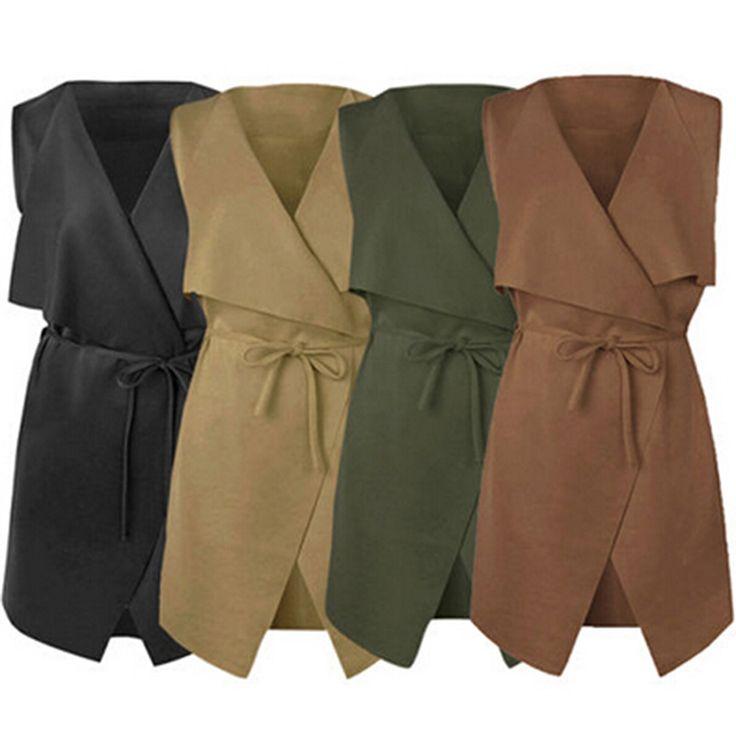Women's Lapel Sleeveless Long Waistcoat Cardigan Coat Blazer Jacket Vest Free Shipping