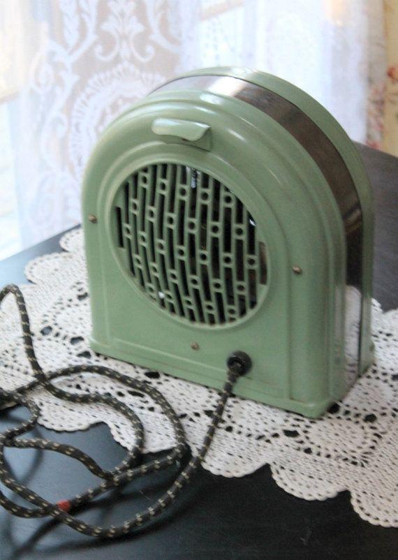 Vintage  Jadite Green Art Deco Electric Fan by MyVintageLane
