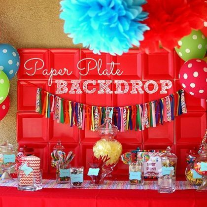 Create a fun party back ground with square paper plates. What a great idea!