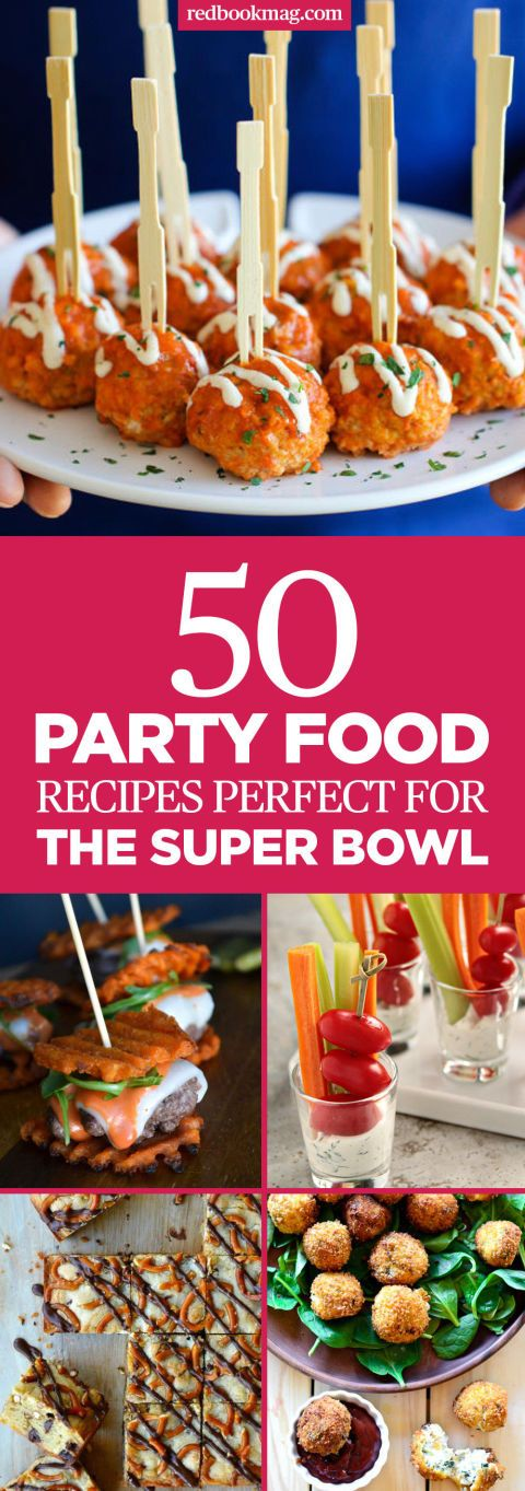 Party Food Ideas Perfect for Super Bowl - Super Bowl Party Recipes - Stop buying takeout pizza and wings and upgrade your hostess skills with more unique recipes. Head over to redbookmag.com to find recipes that will please any crowd at this year's Super Bowl party.