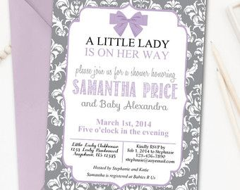 Little Lady Baby Shower Invitation Damask Baby Shower