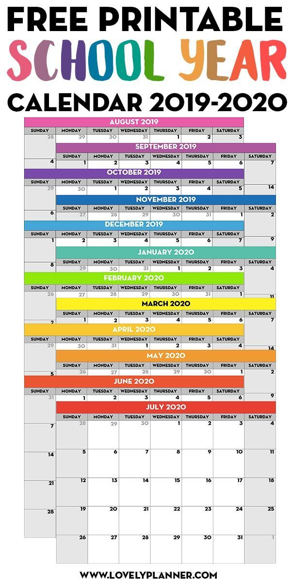 Free Printable School Year Calendar Monthly Pages 2019 2020