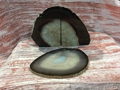 "Agate Geode Bookend,trivet Set silver Leaf Edged,Set from Brazil,Coffee,7"",NICE  